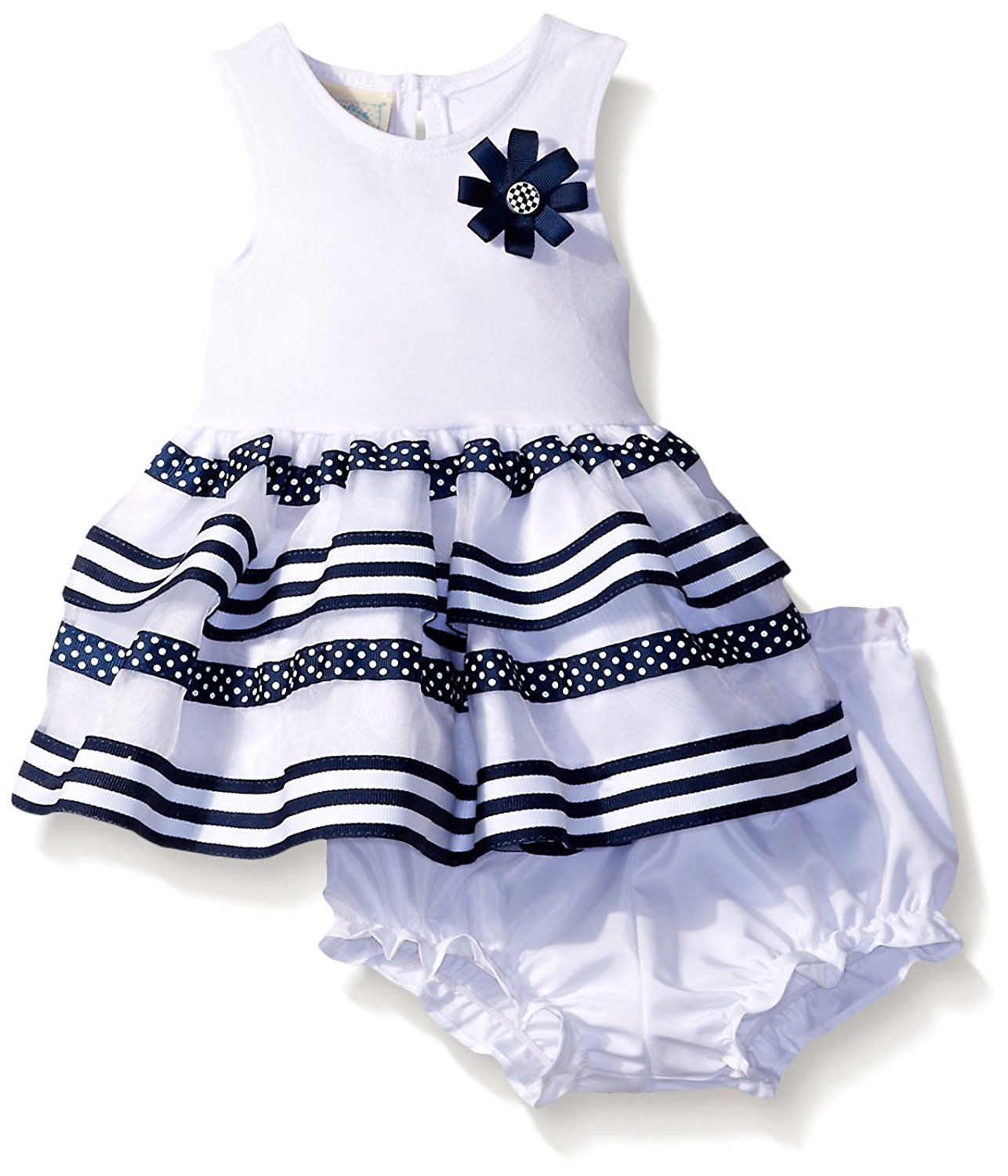 Marmellata Baby Girls Navy and Whit Striped Tank Dress New and