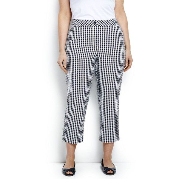 Womens Petite Seersucker Crop Trousers - 8 - BLUE Lands End opFdBMo