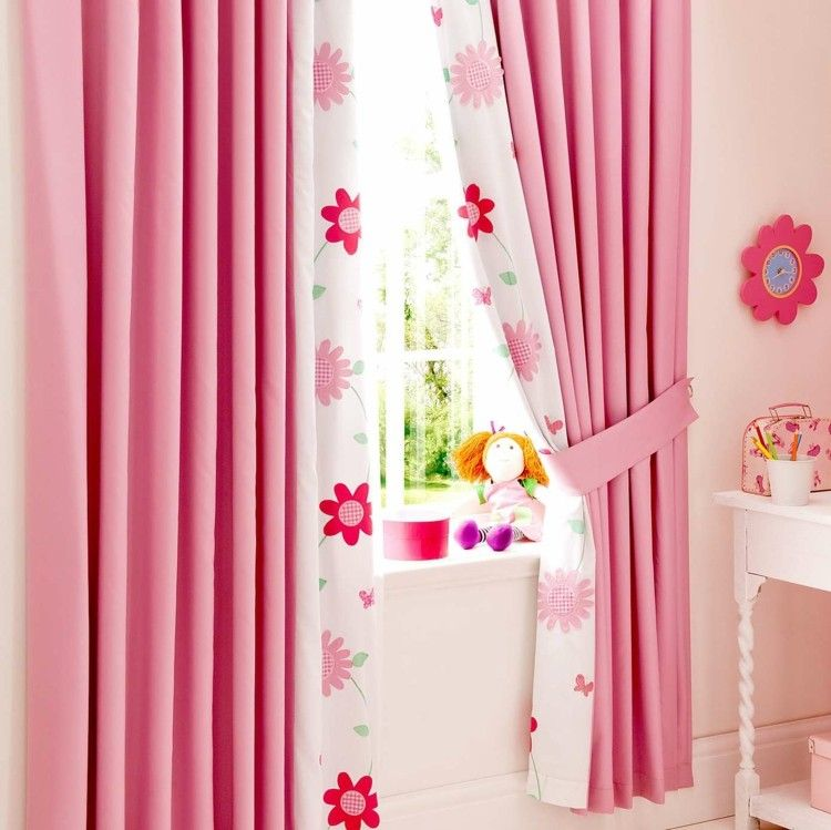 Kinderzimmer vorhang design in rosa farbstoffe for Vorhange kinderzimmer rosa