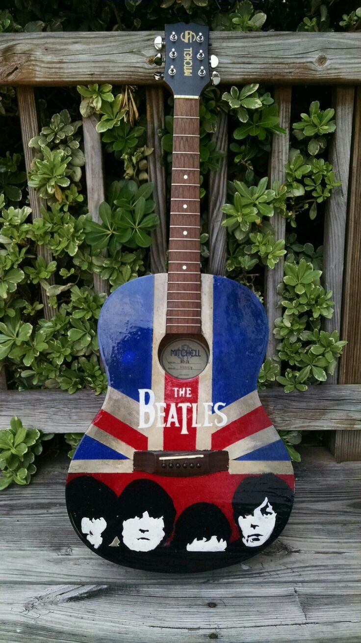 Guitar With The Beatles Painted On Front Beatles Guitar Guitar Art Guitar Painting