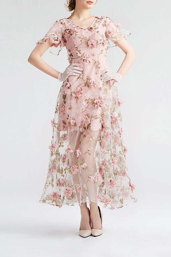 Yigelila Shallow Pink Floral See Through Lace Maxi Dress