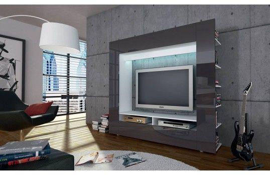 meuble tv mural design velio gris led - Meuble Tv Design Ibiza A Led