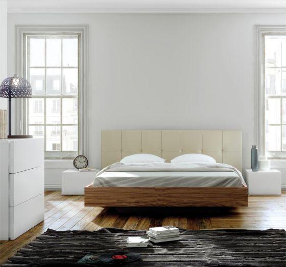Float Bett 160x200 Walnuss/ Weiß Kunstleder