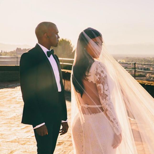 10 Super Romantic Wedding Hairstyles Inspired By Celebrity Brides Kimye Wedding Kardashian Wedding Kim Kardashian Wedding