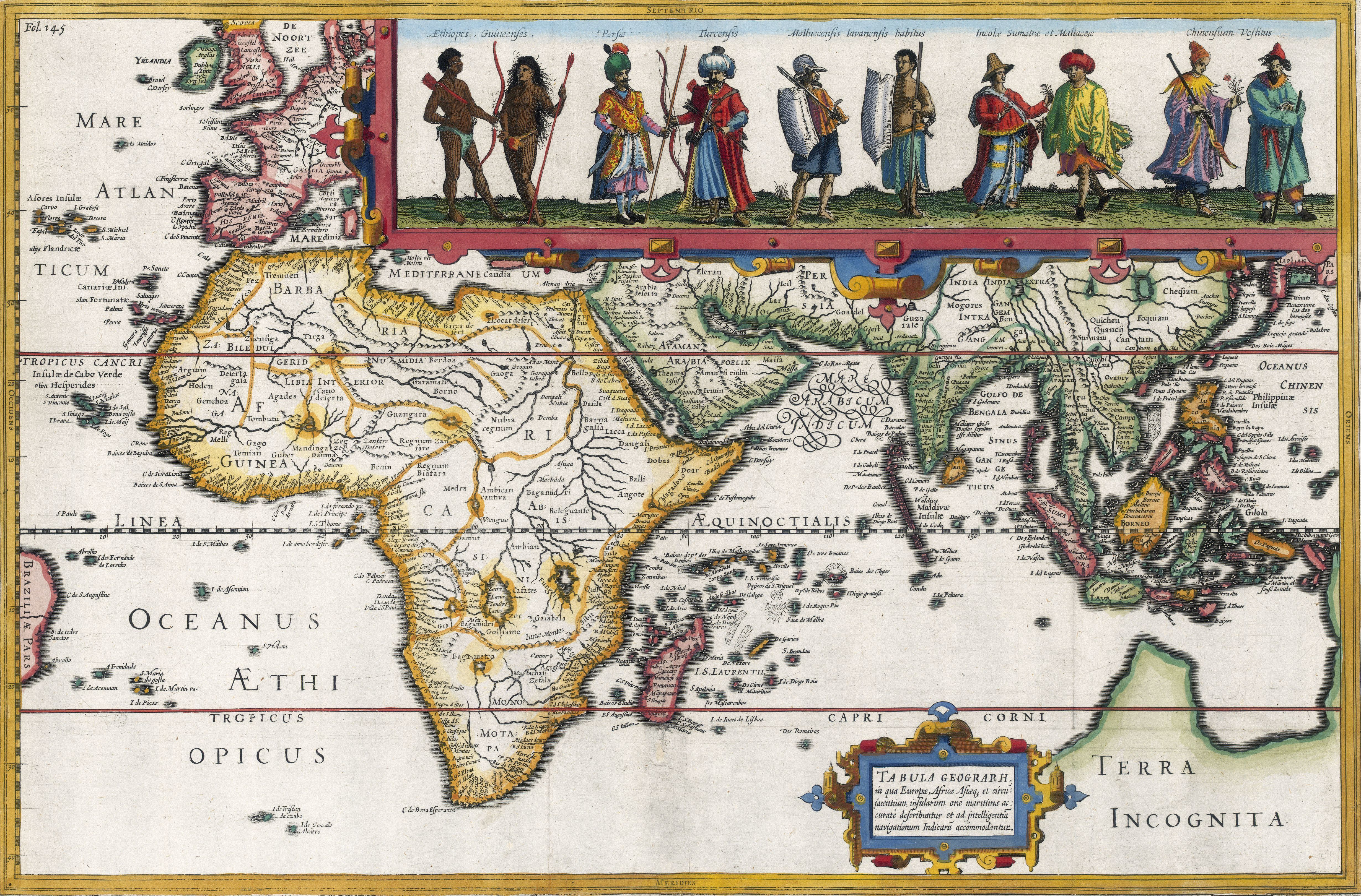 1611 Map of Africa , southwest Europe, southern Asia, 'Terra