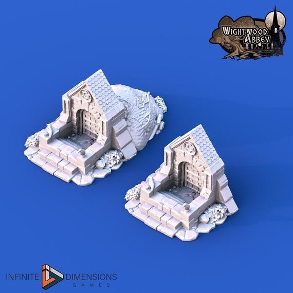 Crypt Entrance 28mm 32mm Wightwood Abbey Wargaming Terrain D&D, DnD, Pathfinder, SW Legion, Warhamme #wargamingterrain