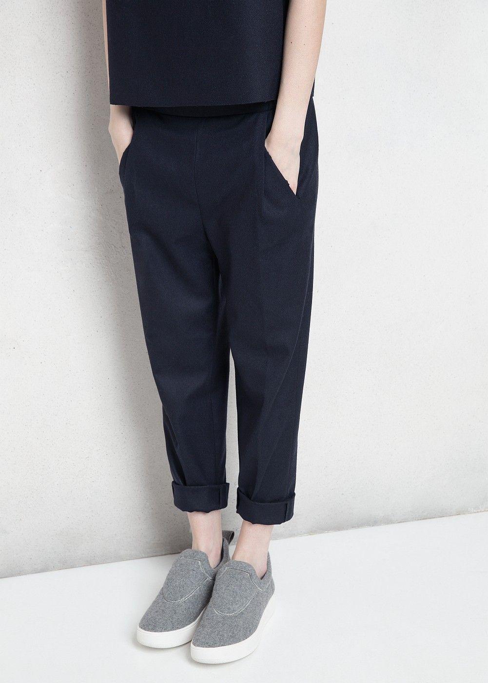 Premium - pantalón baggy lana - Mujer  cce5c3e32385