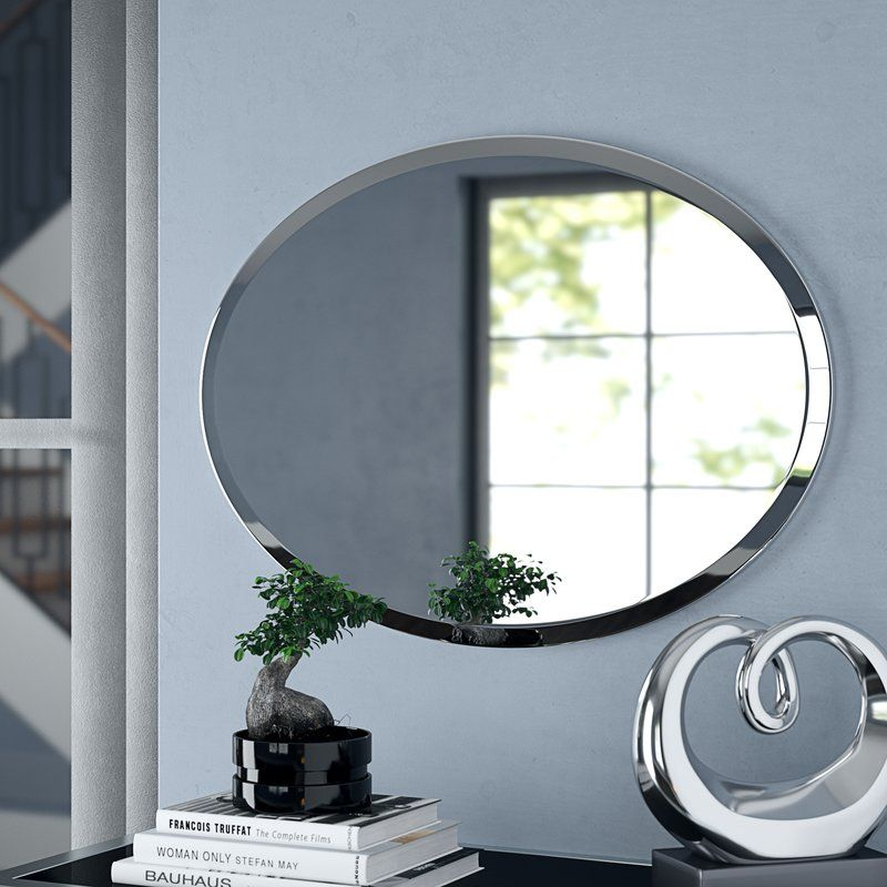 Provenzano Modern Contemporary Beveled Wall Mirror Mirror Wall Oval Wall Mirror Oval Mirror Bathroom