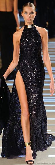 Alexandre Vauthier stunning amazing gorgeous long gown dress slit split high hip leg fitted pooling train collar bejeweled sparkling black