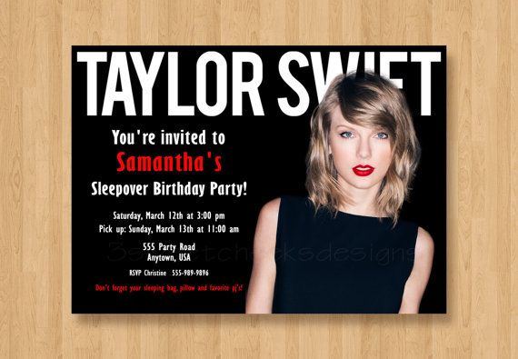 Taylor Swift Birthday Party Invitation By