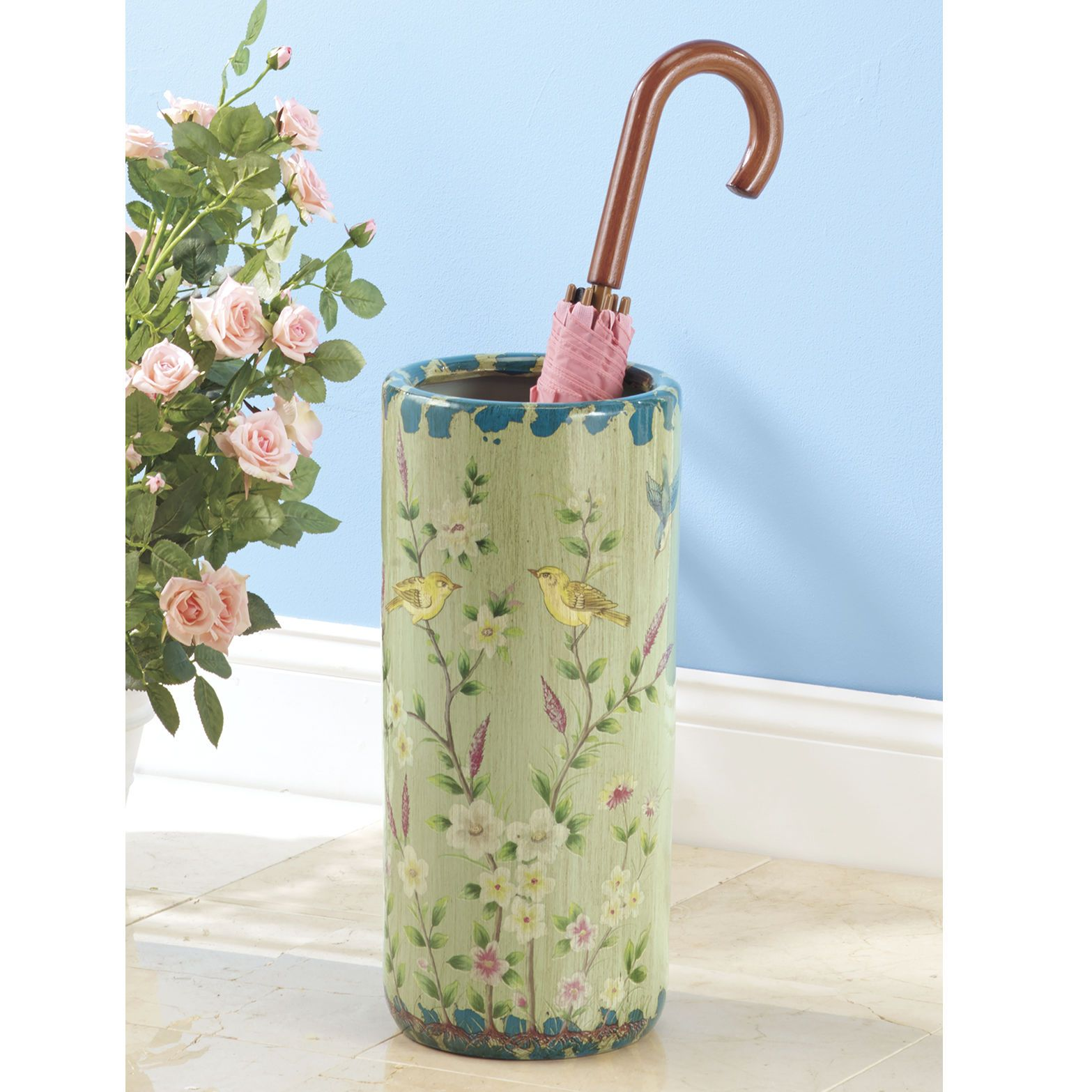 Ceramic Umbrella Stand can be used as a floor vase