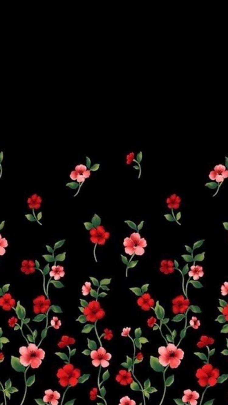 Black Red Pattern Flower Plant Floral Design Black Flowers Wallpaper Flowery Wallpaper Floral Wallpaper Phone