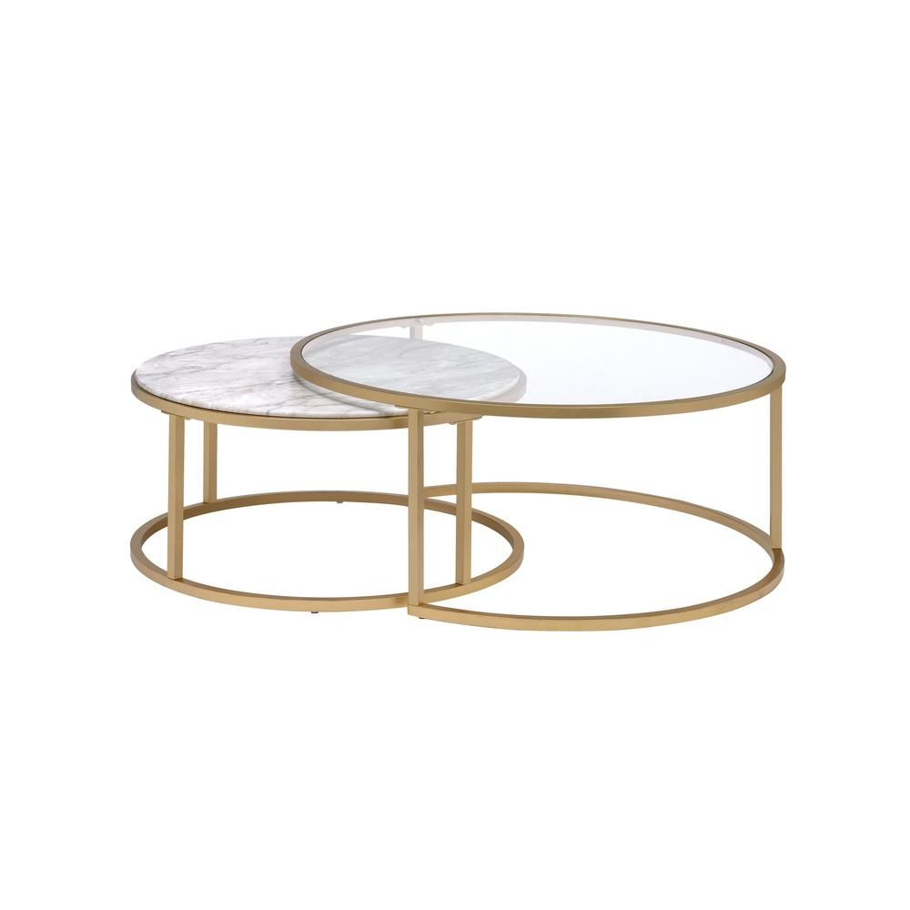 Acme Furniture Shanish Faux Marble And Gold 2 Piece Pack Coffee Table Set 81110 The Home Depot Nesting Coffee Tables Round Glass Coffee Table Gold Coffee Table [ 1000 x 1000 Pixel ]
