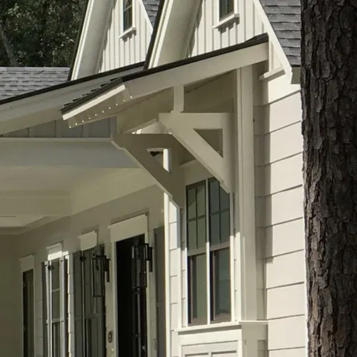 Shed Roof Over The Window On A Farmhouse Style House Project Small House Farmhouse Style Metal Roof Over A W In 2020 Farmhouse Style House Shed Roof House With Porch