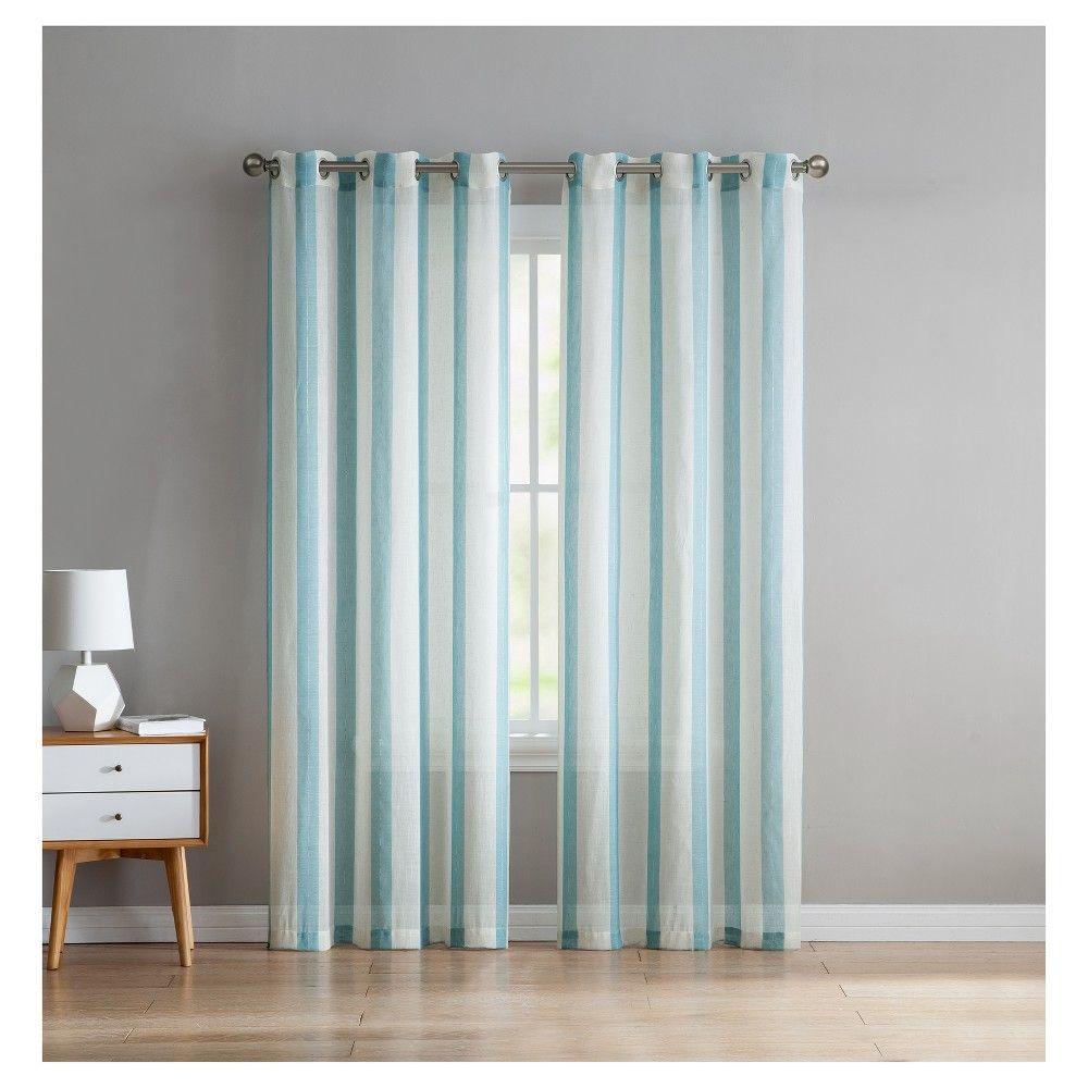 Windsor stripe linen curtain panel pair aqua blue