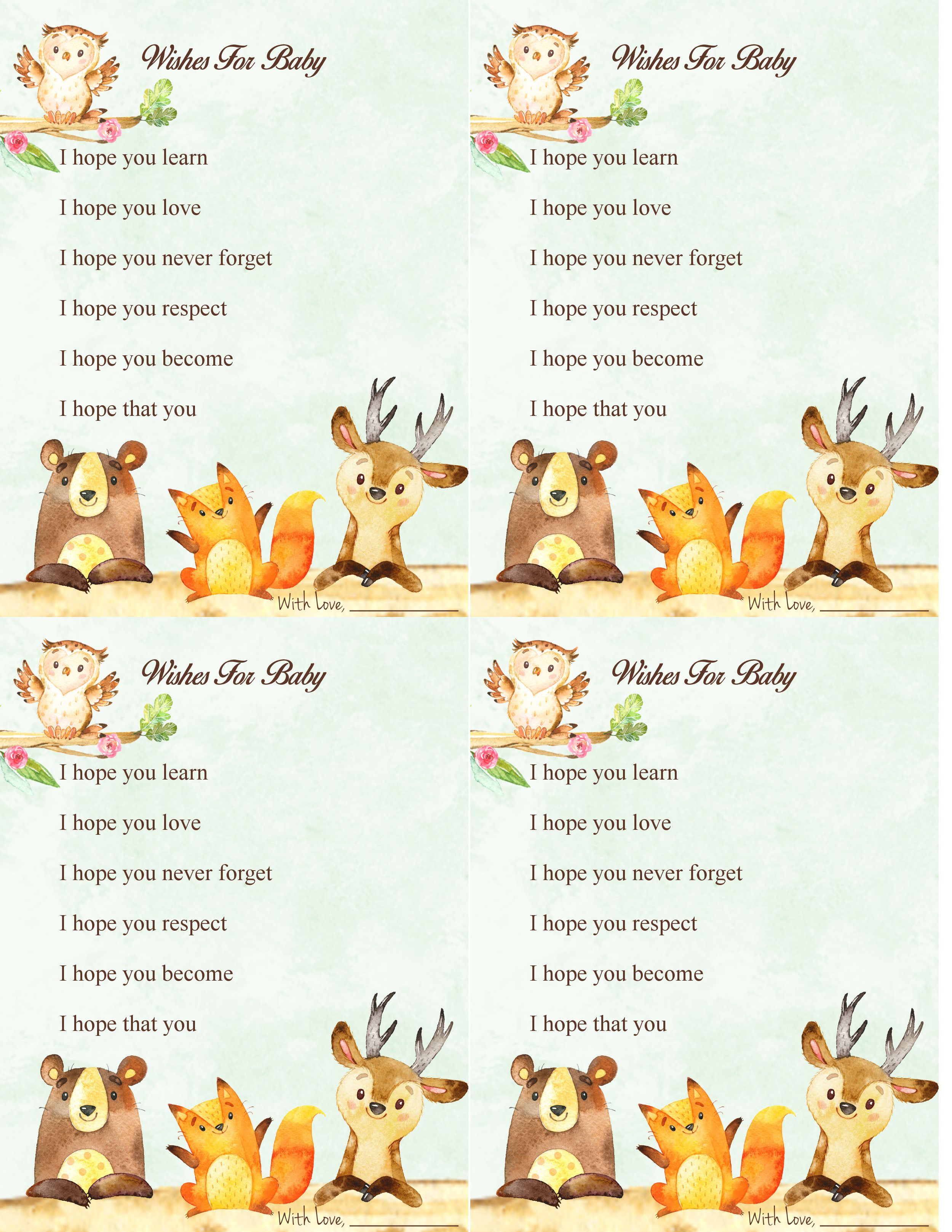 woodland forest animal baby shower game wishes for baby free printable