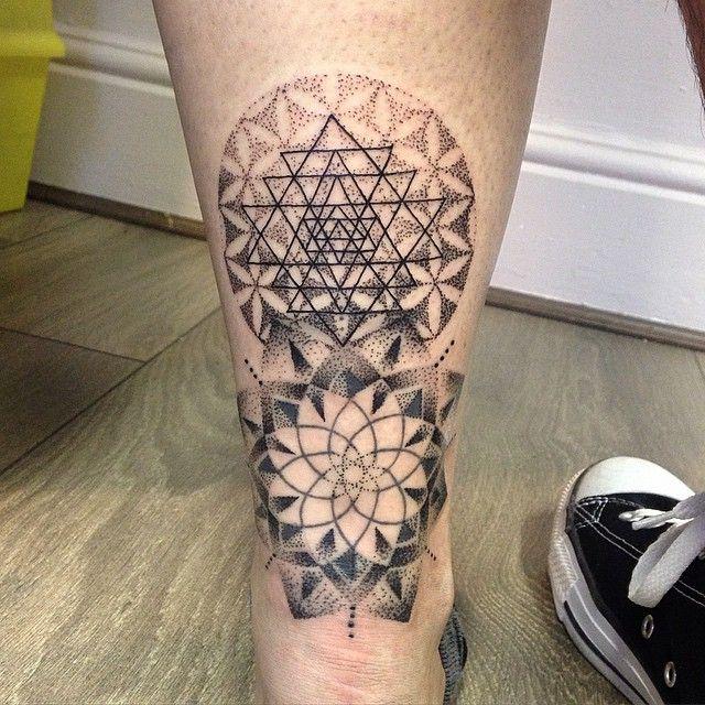 My Sri Yantra And Flower Of Life Mandala Tattoo Done By Heartforart