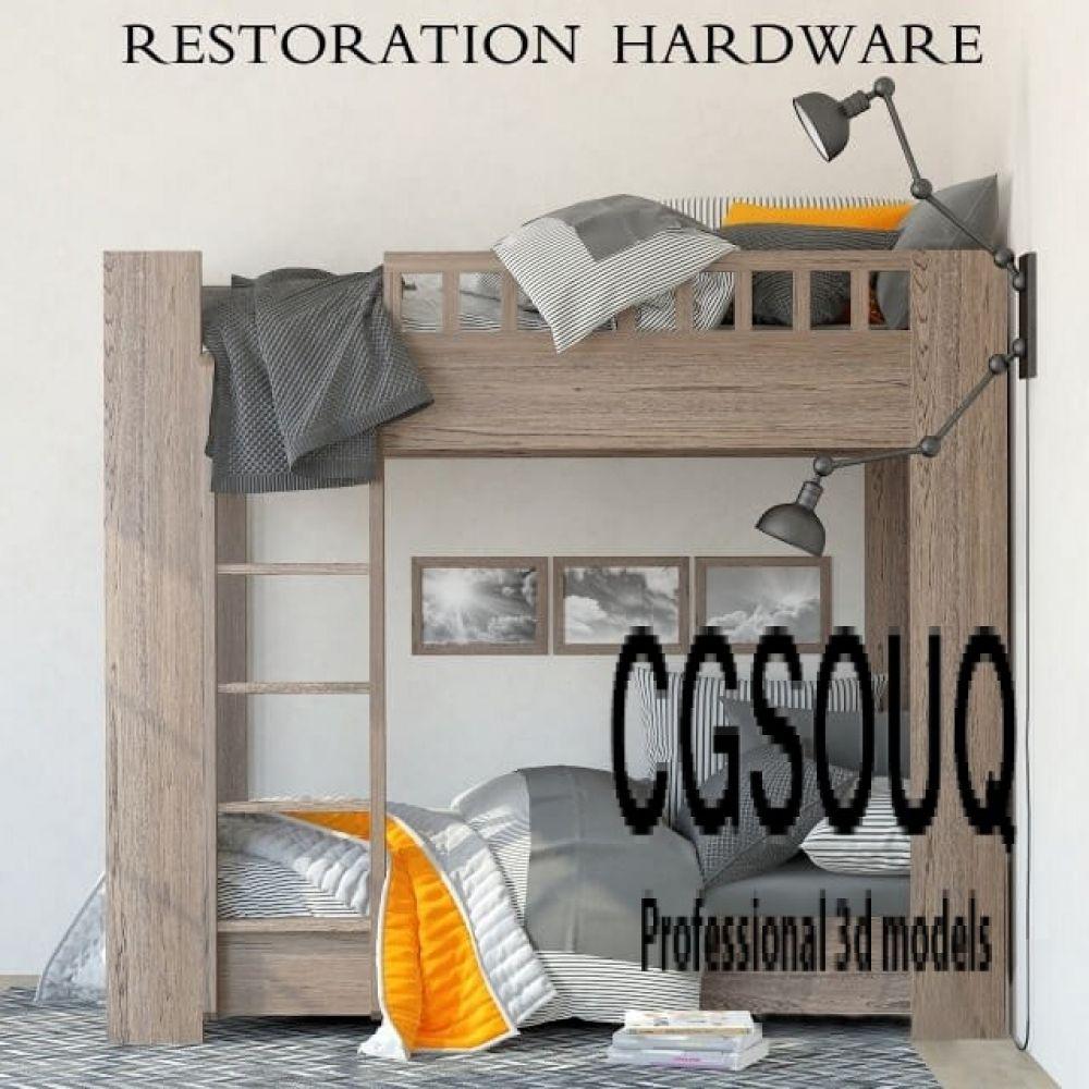Restoration Hardware Callum Bunk Bed 3d Model Bunk Beds Bed Bunks