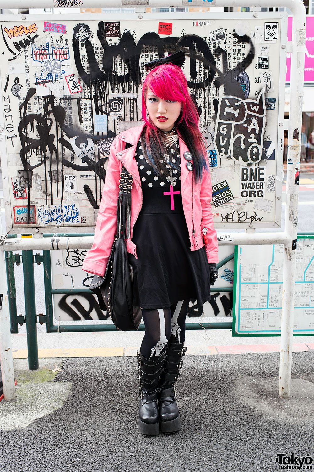 "tokyo-fashion: "" Japanese high school student Lisa in Harajuku w/ pink leather jacket, eyeball hair bow & Demonia boots. Lisa speaks English and is on Twitter & Tumblr. """