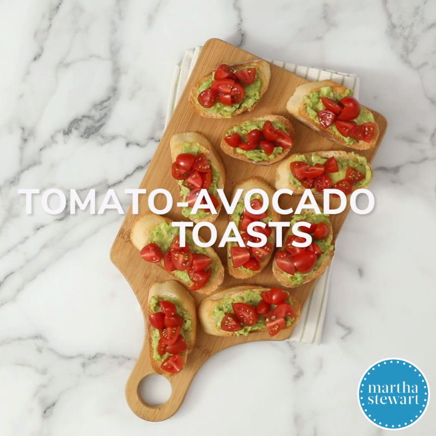 Tomato-Avocado Toasts | Entertaining can be easy-and good for you.  These bites with lycopene-rich tomatoes and heart-healthy avocados are a delectable cocktail party offering-or a perfect addition to your everyday breakfast, lunch or dinner menu.  #food #recipe #marthastewart #appetizerrecipes #healthyavocadorecipes