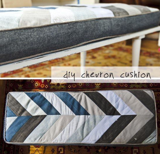 Denium Bench Cushions Diy Recycled Denim Chevron Cushion