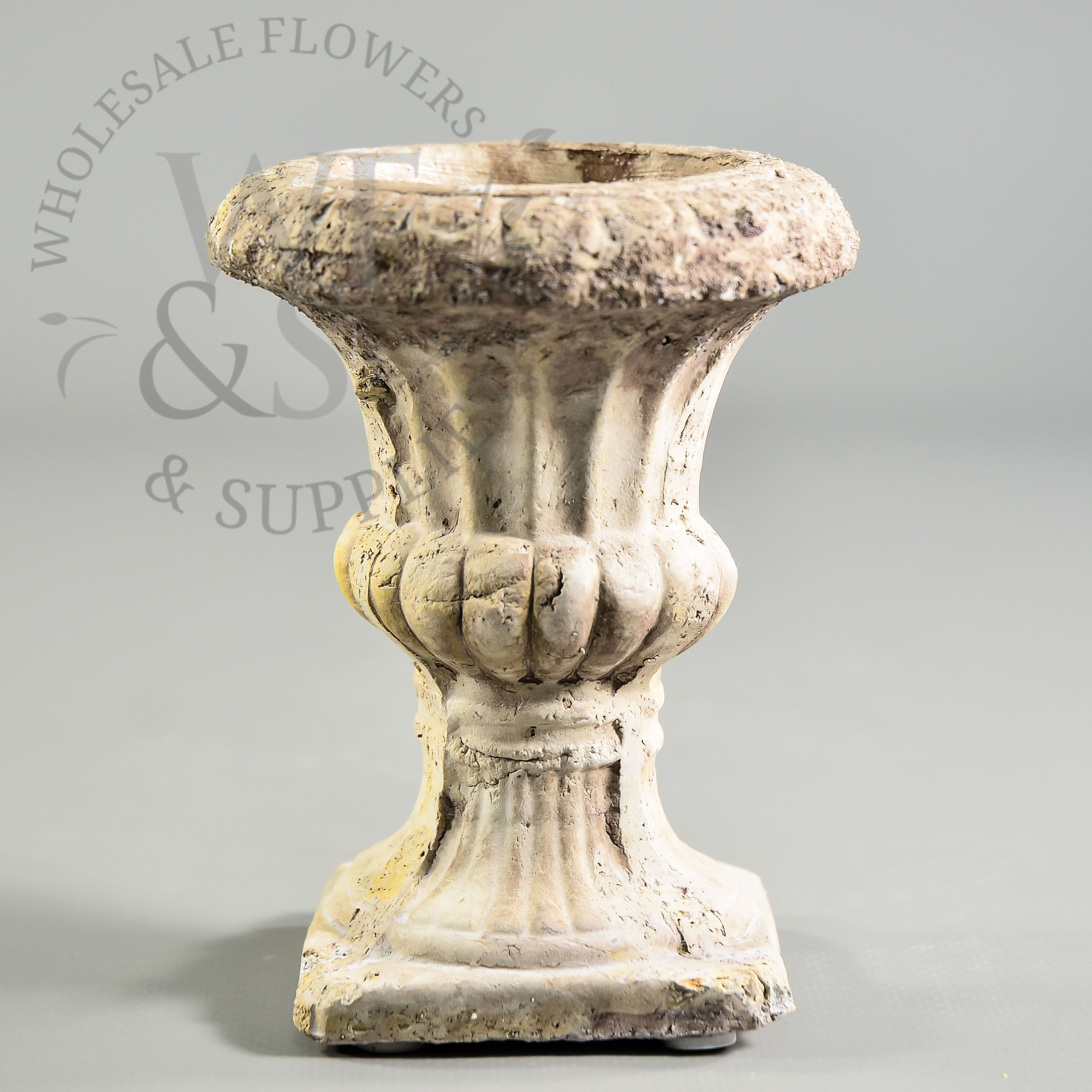 """Small Decorative Urns $3  Small Concrete Pedestal Urn  47"""" Tall 21"""" Opening Tapers"""