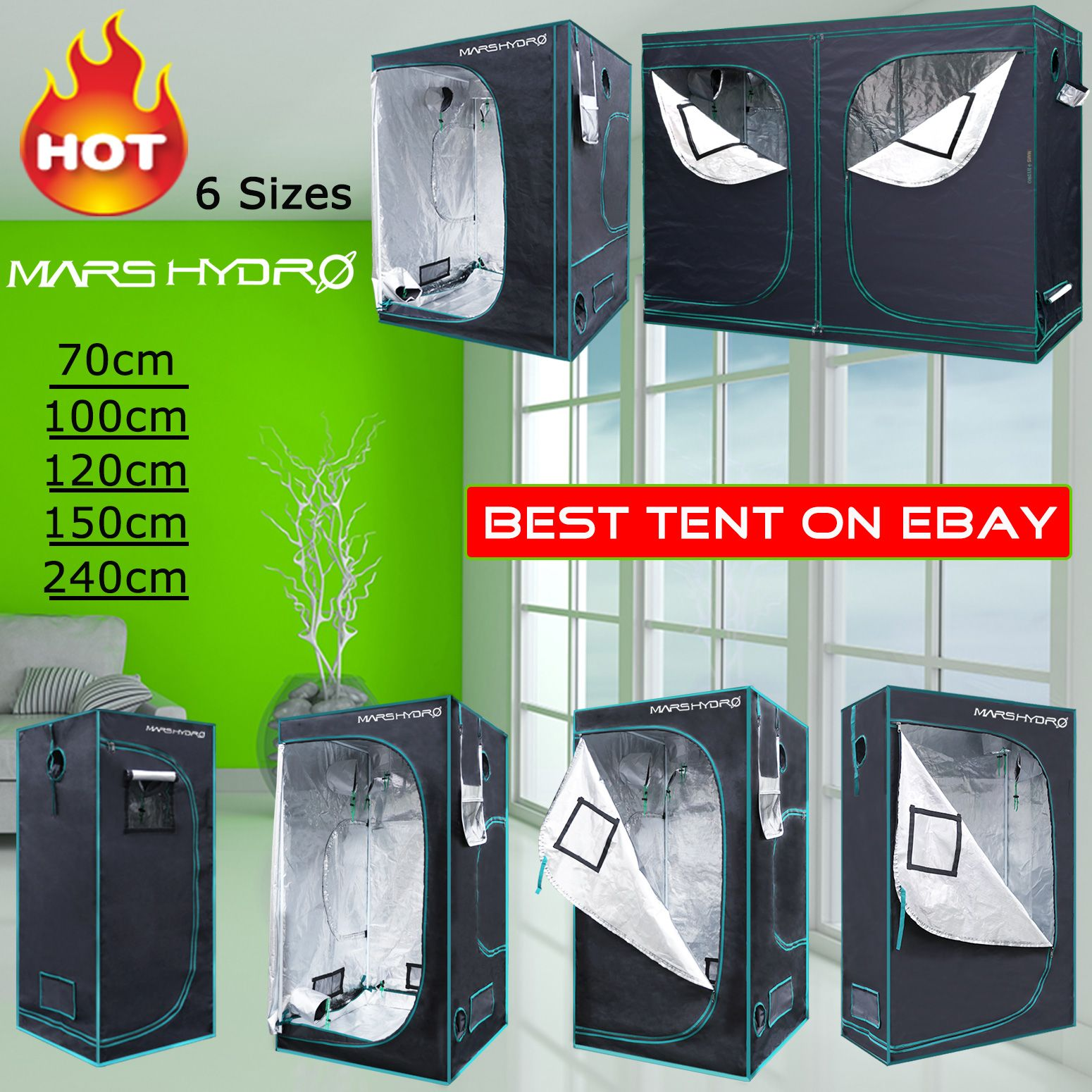 Indoor Portable Grow Tent Silver Bud Box Hydroponics Bud Green Room 1680D Fabric