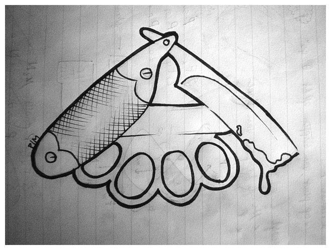 straight razor brass knuckle by on deviantart tattoos pinterest. Black Bedroom Furniture Sets. Home Design Ideas