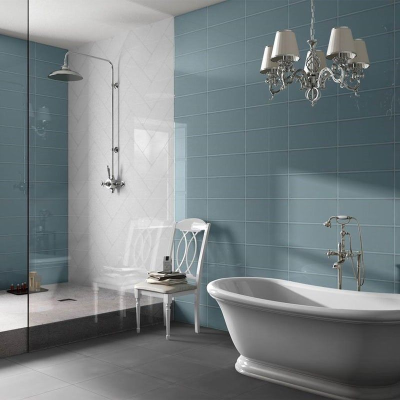 Bordeaux Blue Flat Gloss Wall Tile 200mm X 457mm Wall Tiles Cheap Bathrooms Cheap Bathroom Tiles