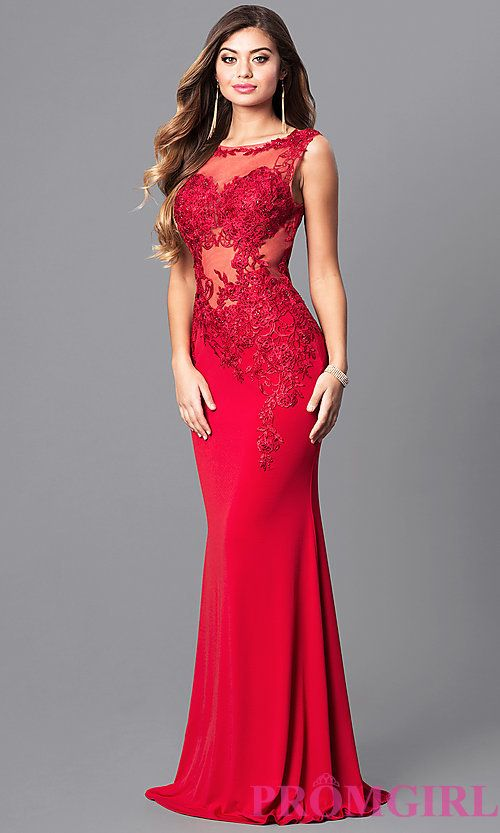 Image of lace-applique red prom dress from JVNX by Jovani. Style ...