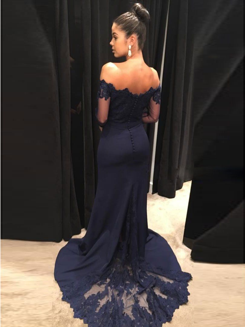 Off the shoulder navy mermaid prom dresses with long sleevessweep