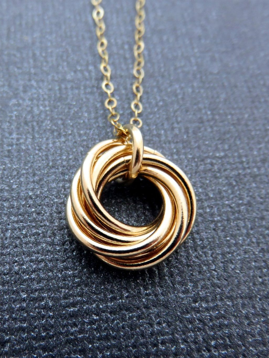70th Birthday Gift For Women Seven Gold Ring Necklace Handmade