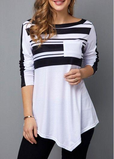 Womens Casual Tops Long Sleeve Stripe Print Round Neck T Shirt #stripedlongsleevetops