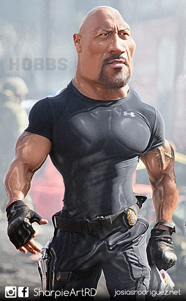 dwayne 39 the rock 39 johnson as hobbs in fast and furious cartoon drawing painting roligt. Black Bedroom Furniture Sets. Home Design Ideas