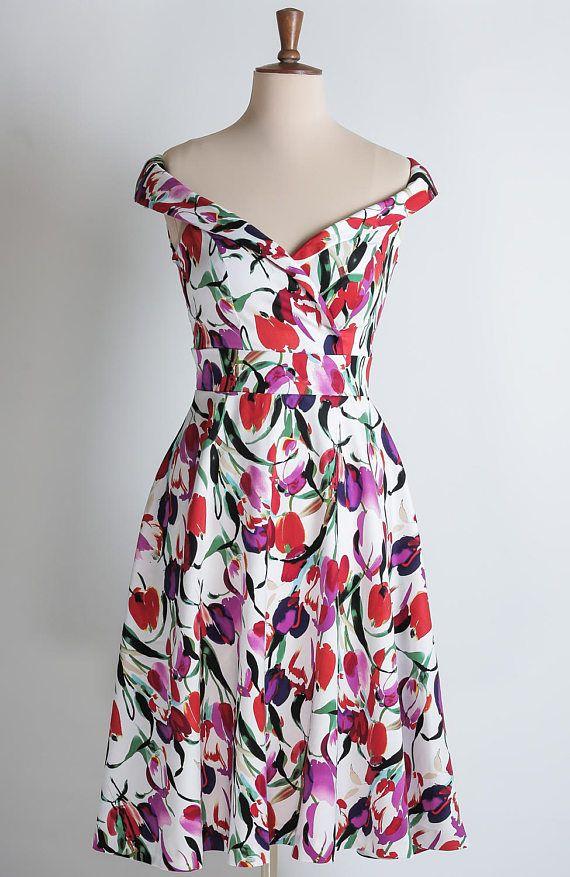 032b229eb0ab Tulip summer dress floral dress red purple and fuchsia