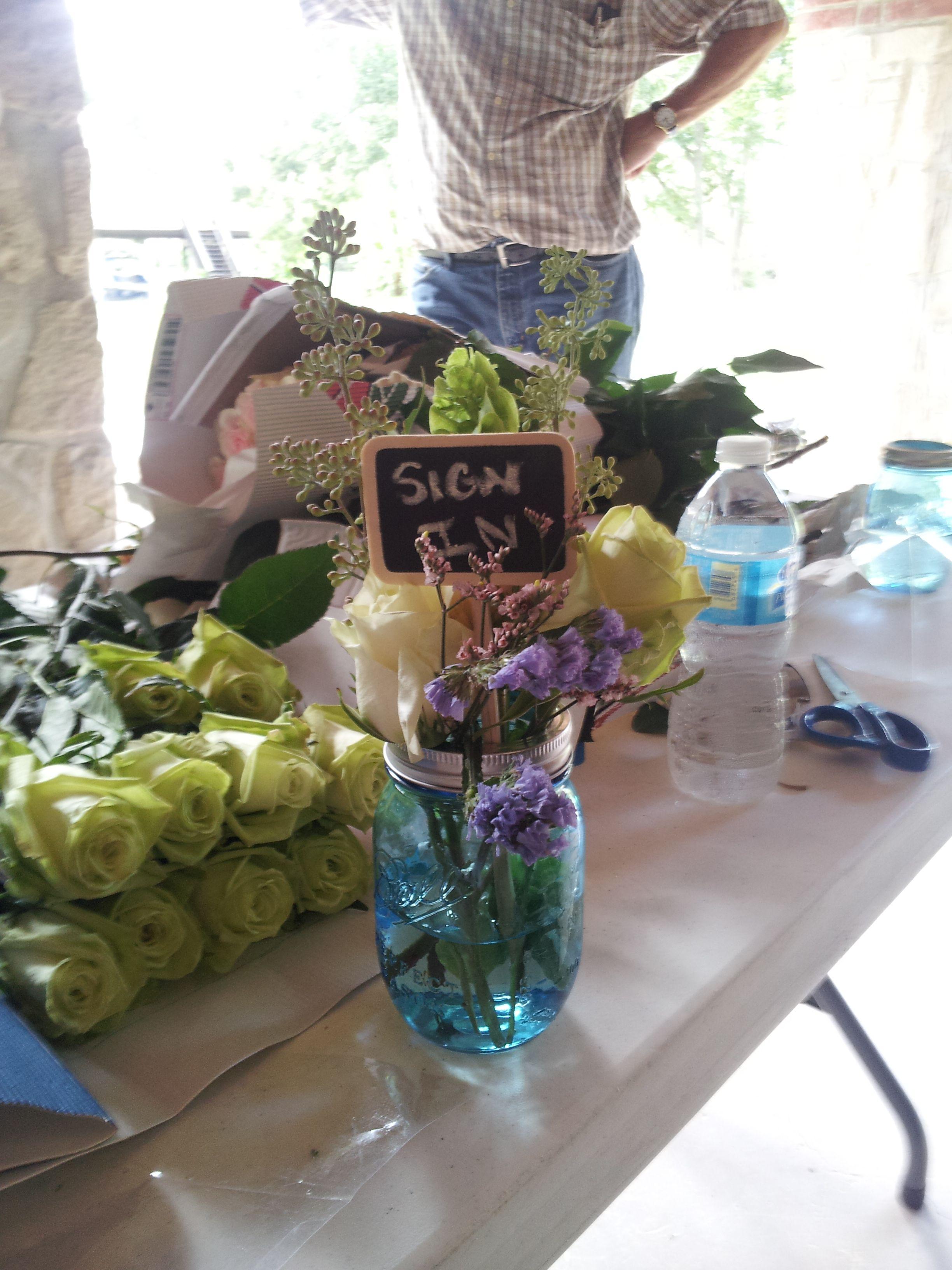 Vintage Wedding, Place Card Holder, Blue Mason Jar, Green Roses, Sign In