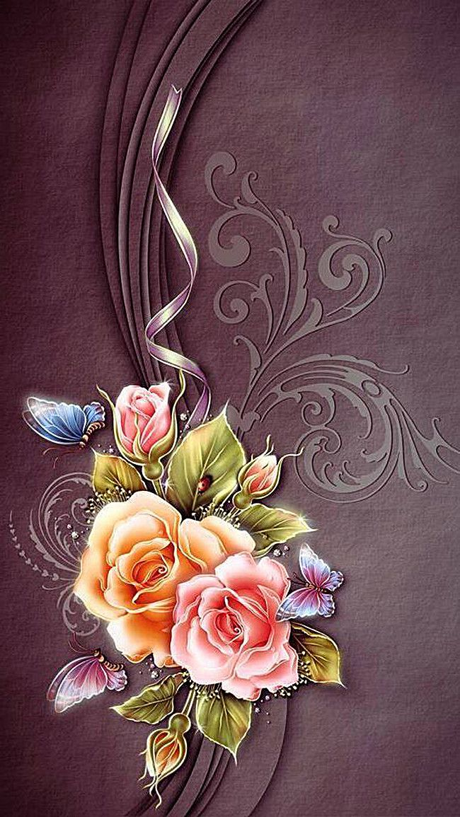 Vintage Romantic Background With Flowers