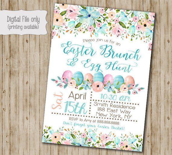 Eater Brunch Invitation Easter Egg Hunt Party Easter Day Invite