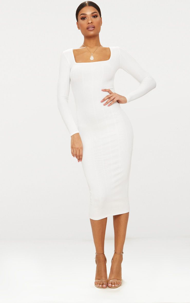 White Bandage Long Sleeve Square Neck Midaxi Dress Women Dress Online Fashion White Bodycon Dress Classy [ 1180 x 740 Pixel ]