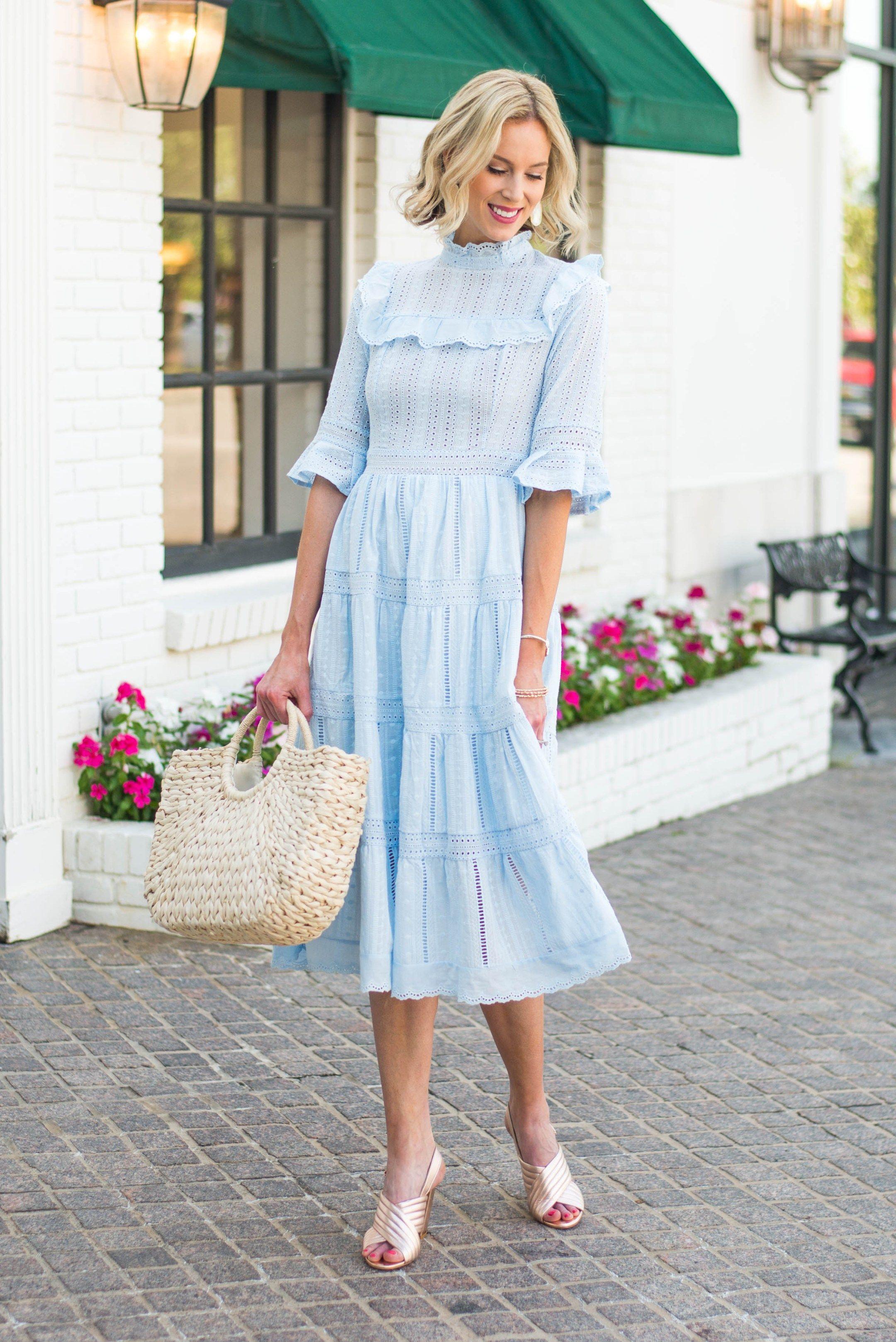 Dreamy Summer Blue Crochet Dress New Favorite Straight A Style Blue Dress Outfits Summer Dresses Light Blue Summer Dress [ 3235 x 2160 Pixel ]