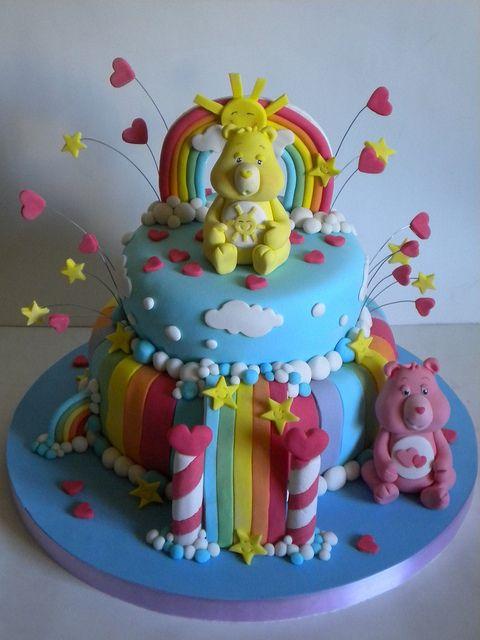 Care Bear Cake | rainbow cupcakes | Pinterest