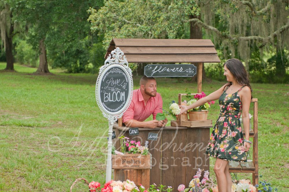 Flower Stand Engagement, photo by: Artful Adventures Photography