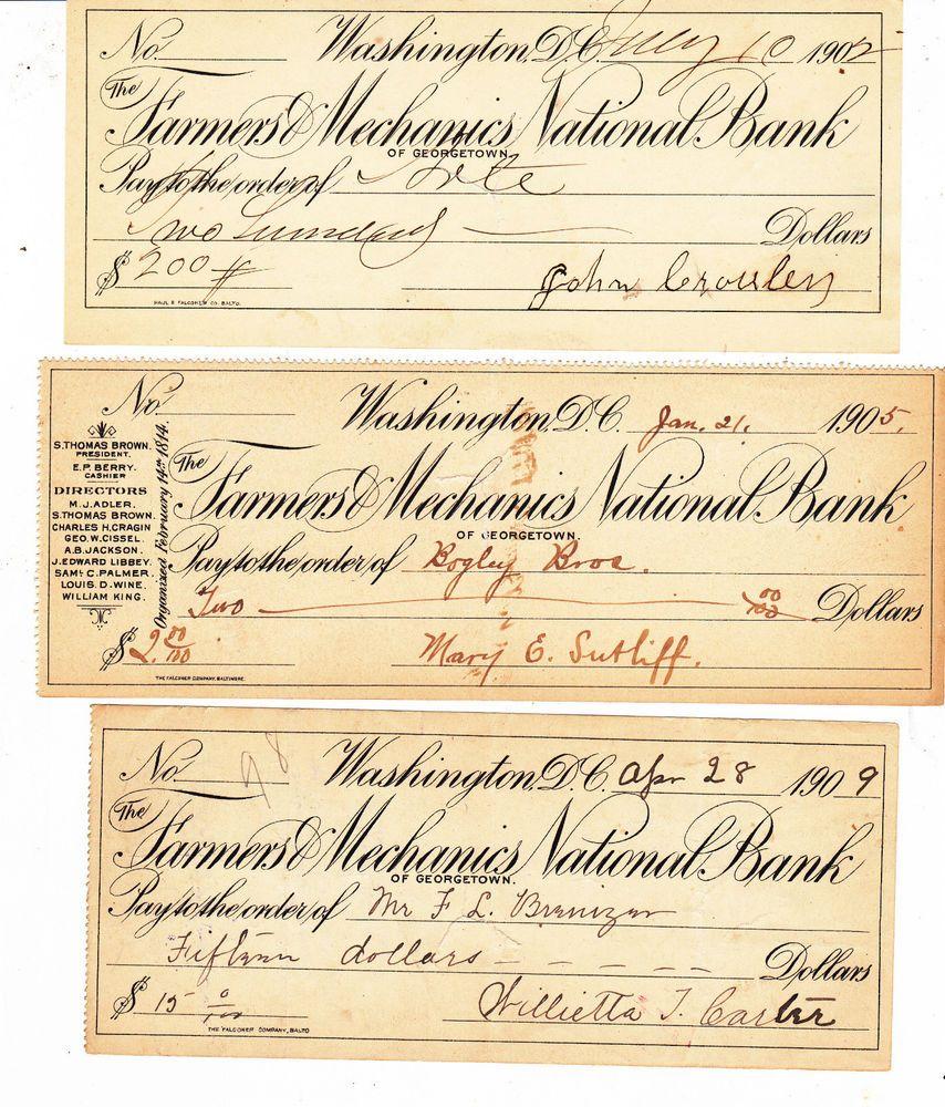 3 OLD CHECKS FARMERS & MECHANICS NATIONAL BANK GEORGETOWN D.C. 1902, 1905 & 1907
