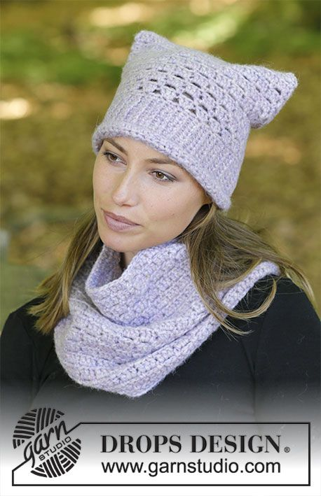 Irena / DROPS 182-40 - The set consists of: Crochet hat and neck ...