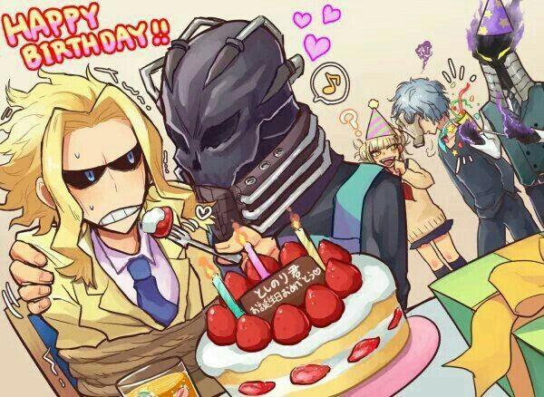 Happy Birthday All Might Text Strawberry Cake Funny