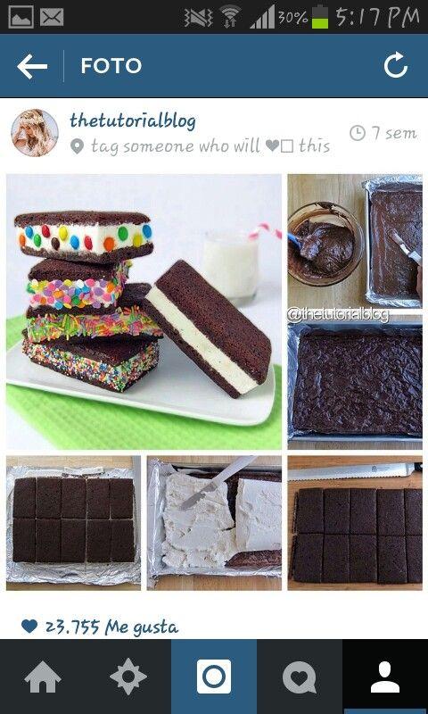 Brownie con helado (pastelado)