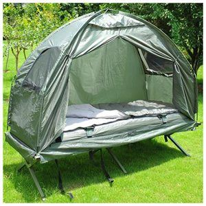 Compact Foldable Pop Up Tent Camping Cot With Air Mattress And Sleeping Bag Combo 99 50 Family Tent Camping Camping Cot Camping Bed