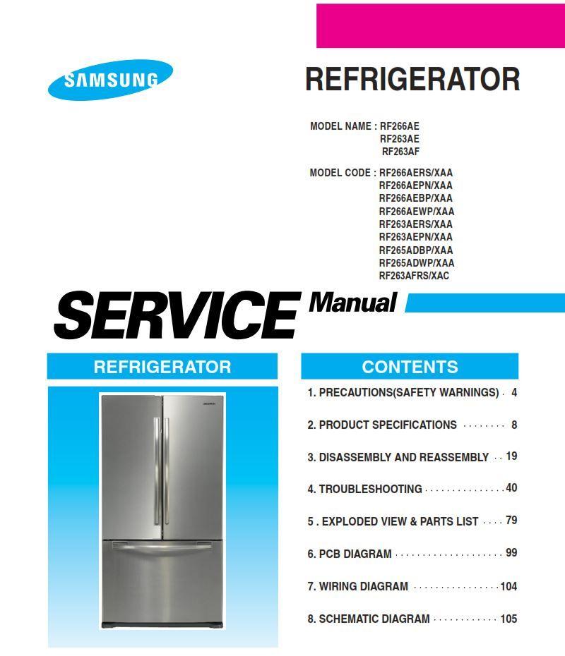 Samsung Rf263afrs Refrigerator Original Service Repair Manual Appliance Repair Repair Manuals Appliance Repair Shop