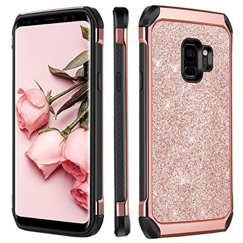 67cf061044 For Samsung Galaxy S9 Shockproof Bling Glitter Case Dual Layer Cover Rose  Gold