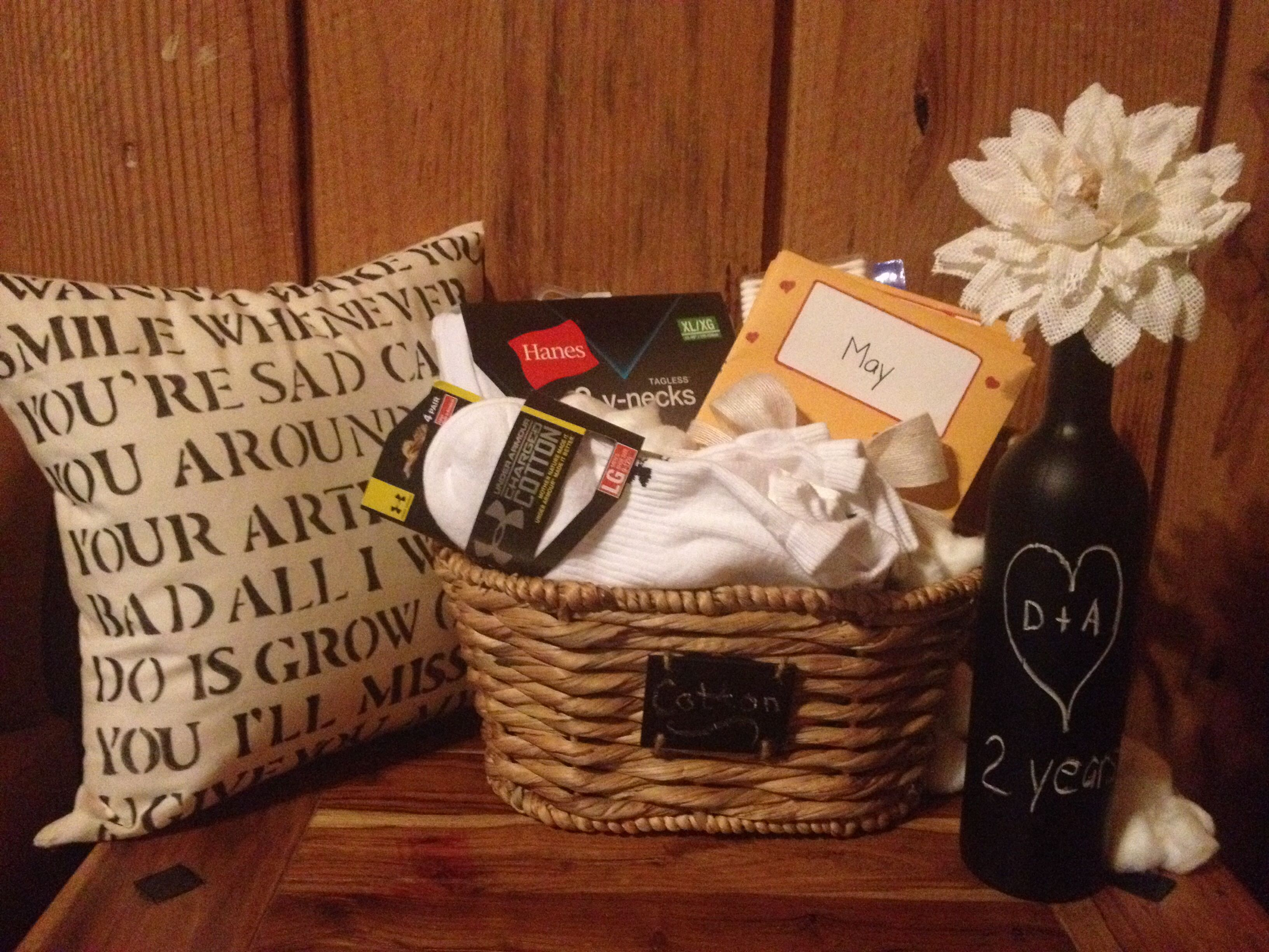 Cotton Wedding Anniversary Gifts For Him: Cotton Anniversary Gift Basket! T-shirts, Socks, Cotton